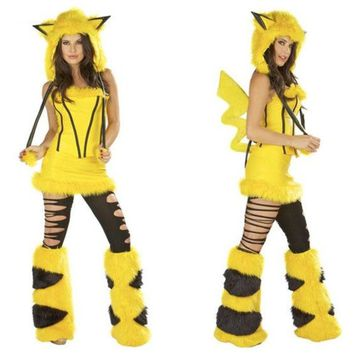 LMFUG3 Freesize Pikachu plush animal costumes Halloween dress party dress role play clothes performance clothing  cosplay dresss uniform temptation (Color: Yellow) = 1932127428