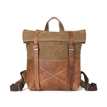 BLUESEBE UNISEX HANDMADE CANVAS AND LEATHER BACKPACK FX1008