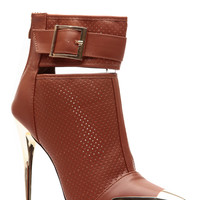 Metallic Mesh Well Tan Pointed Toe Bootie