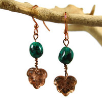 Green Turquoise / Copper Earrings, Vintage Copper Leaves, Forest Green Beads, Nature Inspired Earrings