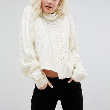 ASOS Sweater In Crop Cable With Wide Sleeve at asos.com