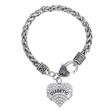 DIABETIC Awareness Medical Alert Heart Charm Bracelet with White Rhinestone