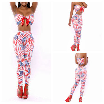 Flag Print Strappy Cropped Top and High Waisted Pants