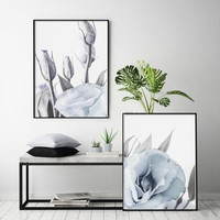 Blush Blue Lisianthus Poster Nordic Canvas Painting Wall art Posters and Prints Flowers Pictures For Living Room Home Decor