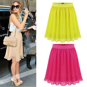 Medium Waist Chiffon Pleated Mini Casual Party Skirt