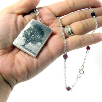 Tree Necklace Photo Pendant Polymer Clay by PhotoPerfectJewelry