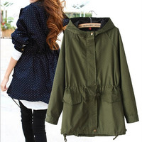 European style 2016 autumn new women polka dots drawstring hooded trench, female fashion plus size loose casual windbreaker coat