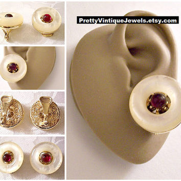 Monet White Cloud Red Bead Clip On Earrings Gold Tone Vintage Large Lucite Puffed Flower Printed Round Center Accent Filigree Back