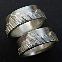 bold mountain range rings, nature wedding rings silver rings his and hers, outdoor wedding bands silver, unique mountain ring set