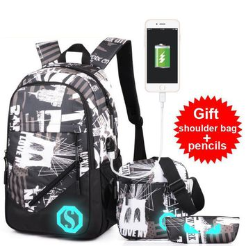 Male Middle School Student Bag Fashion Fashion USB Interface Charge Luminous Backpack Leisure Travel Bag Free Shoulder Bag
