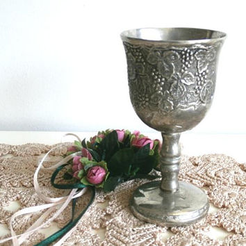 Vintage Wine Goblet, Bell Shaped Silver tone Goblet, Metal Cup, Grapevine Design KIDDUSH Cup,  Jewish holiday Cup, Judaica Wedding gift