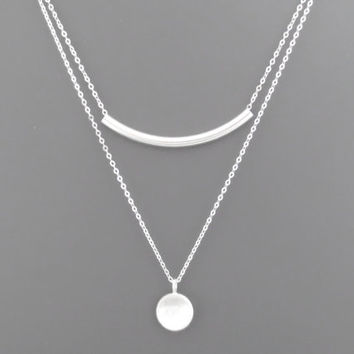 Double layered, Sterling silver, Bar and circle, Silver, Necklace, Curve, Bar, Circle, Coin, Modern, Beautiful, Layering, Gift, Necklace