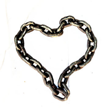 Rustic Chain Heart Wall Art, Wedding Gift, I love You by Recycled Salvage Chain Art Design