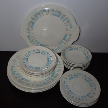 Vintage Retro Royal China Blue Heaven Dinnerware - Set of 21 - Platter, Dinner Plates, Bread Plates, Berry Bowls, and Saucers - Mid Century