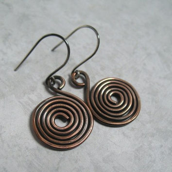 Copper Earrings Spiral Copper Dangles Handmade Copper Jewelry