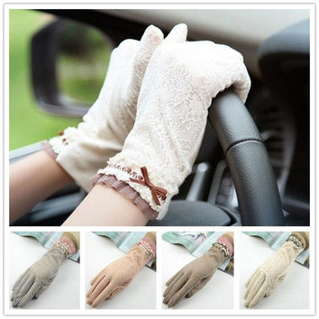 Anti-uv Gloves Sunscreen Summer Gloves Lace Short Design Slip-resistant Driving Gloves = 1958033476