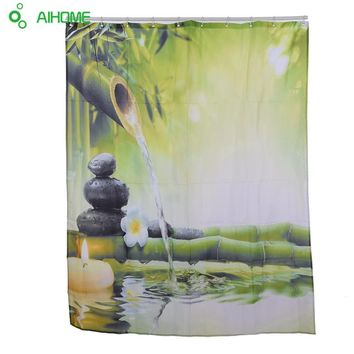 Bamboo Water Stone Pattern Shower Curtain 180x180cm/150 * 180 cm Waterproof  Polyester Shower Curtain Bathroom Decorations