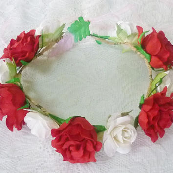 Red rose flower crown Large rose white headband /Colorful flower headpiece /floral headpiece/ flower crown ribbon tie back