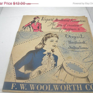 I Sit And I Sew:1940s Vogart Vintage Needlepoint Advertisment Books