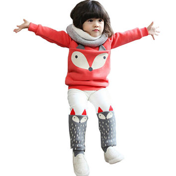 Autumn winter Baby Girls Clothing set Lovely Children's Clothing 2PCS Thick Long Sleeve Fox Tops + Pant Sets
