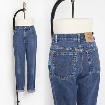 "Vintage Levi's 550 JEANS - Cotton Denim Relaxed Fit Tapered Leg High Waist Mom Jeans 1990s - 28"" x 31"" Small"