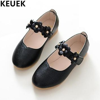 NEW Fashion Children Leather shoes Sweet Casual Girls Flowers Princess shoes Kids Baby Flats Spring Autumn Single shoes 04B
