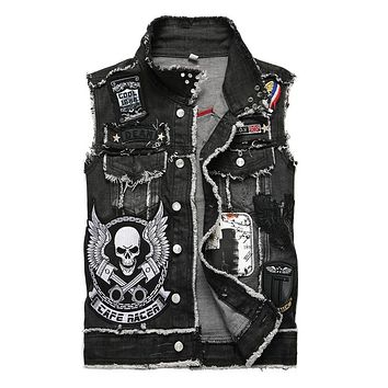 Men's Denim Vest Black Skull Embroidery Denim Slim fit Sleeveless Jacket