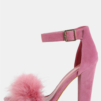 Open Toe Feather Chunky Heel MAUVE | MakeMeChic.COM