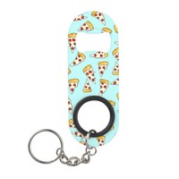 Funny pepperoni pizza pattern sketch on teal keychain bottle opener