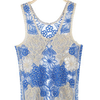 'The Magda' Sheer Lace Floral Crochet Tank Tops