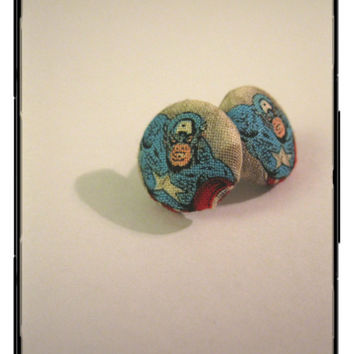 Captain America Button Earrings by SuperJediMom on Etsy