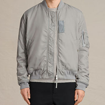 ALLSAINTS US: Mens Henson Bomber Jacket (Light Grey)