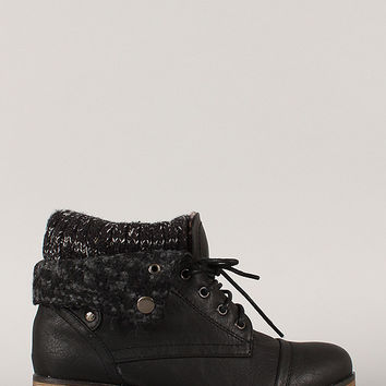 Sweater Collar Lace Up Ankle Boots