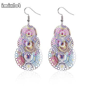 Imixlot 2017 Rushed Pendientes Mujer Spring Laser Cut Printing Flower Unfinished Wooden Earrings Brincos Bijuteria Feminina
