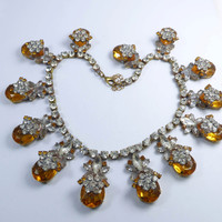 Statement Necklace Czech Glass Large Amber Stones Clear Rhinestones