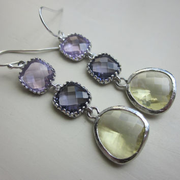 CItrine Tanzanite Lavender Earrings Silver - Bridesmaid Earrings - Wedding Earrings - Bridal Earrings