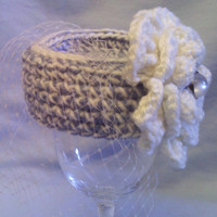 Blue and White Pill Box Baby Hat with White Flower and White Netting