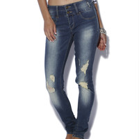 Stacked High Waist Destroyed Skinny Jean | Shop Just Arrived at Wet Seal