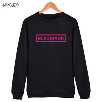 MULYEN KPOP Korean Fashion Sweatshirt Women Pullover Blackpink Letter Printed Hoodies JENNIE ROSE LISA Pink Fleece Hoodie