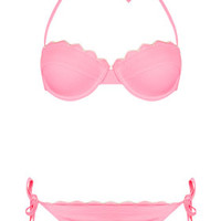 Pink Scallop Texture Bikini Top and ...