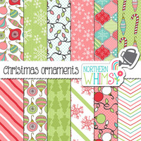 "Christmas Digital Paper - ""Christmas Ornaments"" - hand drawn seamless patterns in pink, mint, aqua & red - scrapbook paper - commercial use"