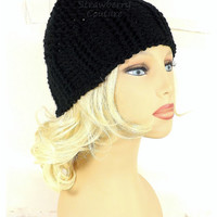 Black Crochet Hat Womens Hat Womens Crochet Hat, Crochet Ribbed Beanie Hat with Seed Stitch, Black Hat, Crochet Beanie Hat