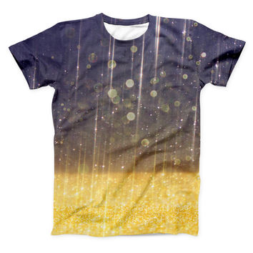 The Blue Stratched Streaks with Unfocused Gold Sparkles ink-Fuzed Unisex All Over Full-Printed Fitted Tee Shirt
