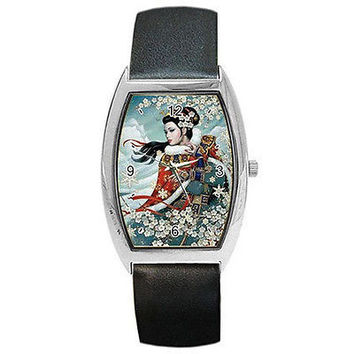 Oriental Girl w/ Apple Blossoms by Karl Bang on a Barrel Watch w/ Leather Bands.