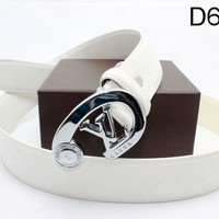 LV  Woman Men Fashion Smooth Buckle Belt Leather Belt