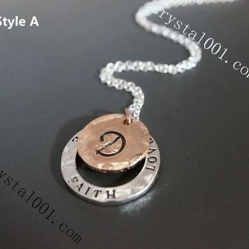 Sterling silver Initial necklace, layered monogram disc charms, rose gold neckla