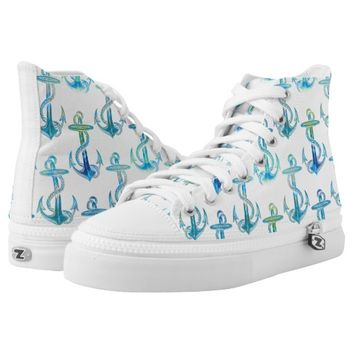 Anchor Blue Green Beach Shoes Printed Shoes