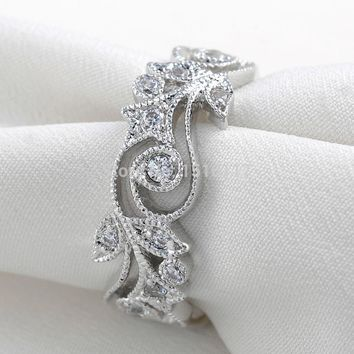 Newshe Leaf Design 925 Sterling Silver Wedding Ring For Women Classic Jewelry