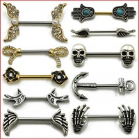 1 Pair Surgical Steel Barbell Piercing Skull