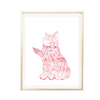 nursery decor pink cat painting art print room decor Typographic Print home wall decor framed quotes bedroom poster tumblr room decor 8x10